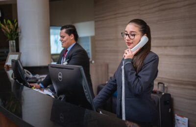 receptionists, phone call, hotel