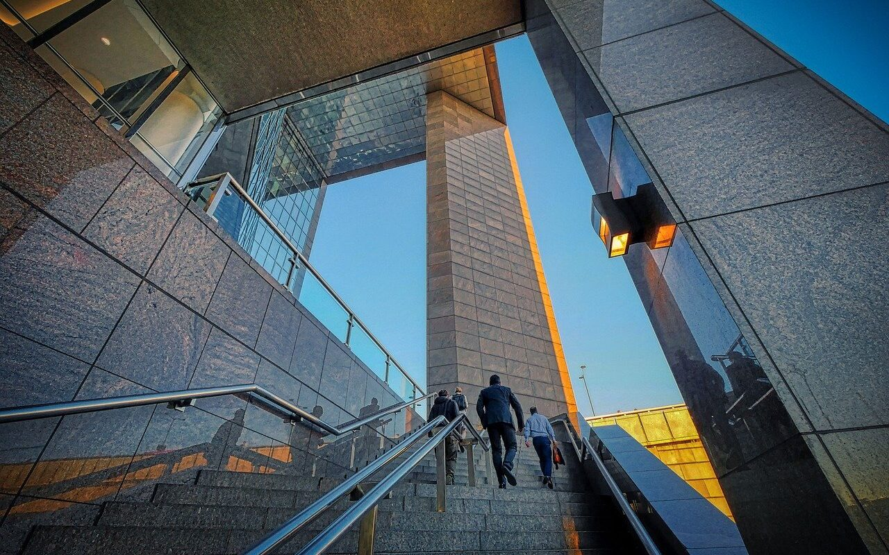 stairs, building, businessmen